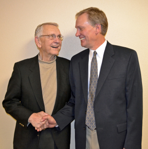 "George Sinner (right) with his dad, former ND governor George ""Bud"" Sinner Sr."